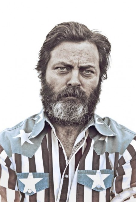 grizzly bearded Nick Offerman